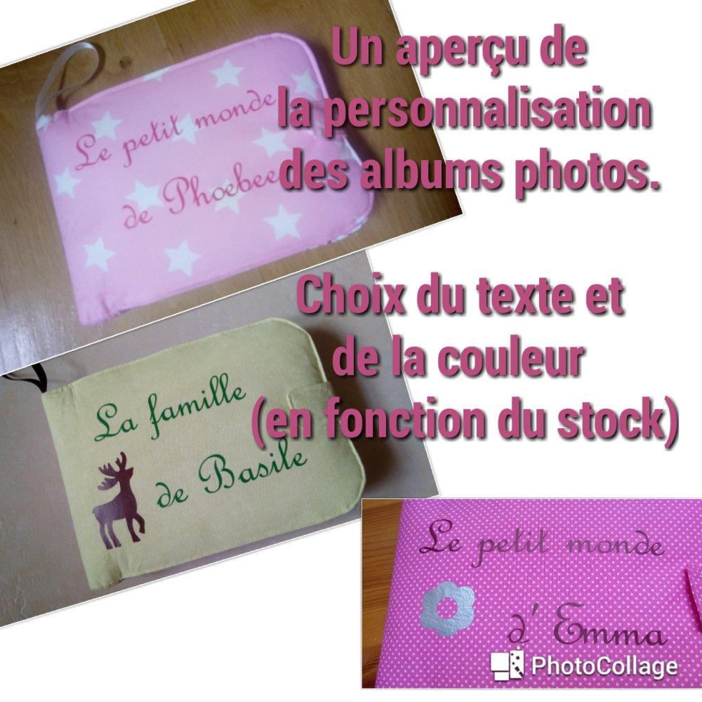 Album photos tissu à personnaliser (modèle fuchsia)