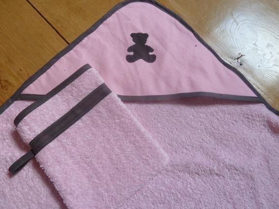 cape de bain / sortie de bain (rose pâle, nounours gris)