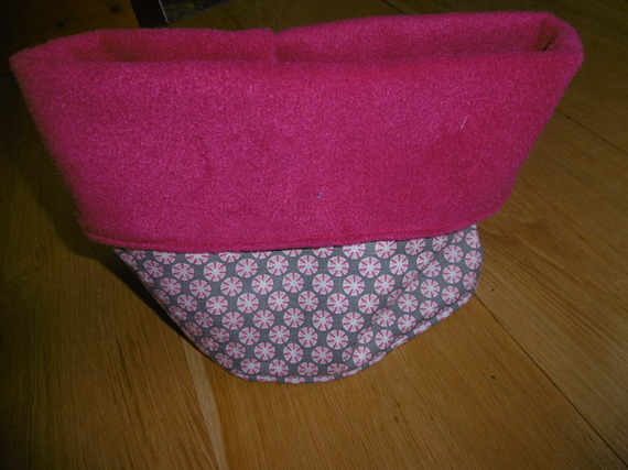 snood tour de cou fille gris ronds fuchsia