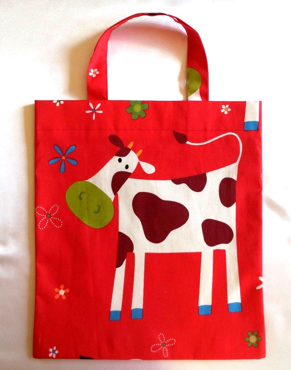 """Sac enfants pour livres de bibliothèque """" la jolie petite vache"""", sac- multifonctions , sac à doudous , sac """" fourre-tout""""."""