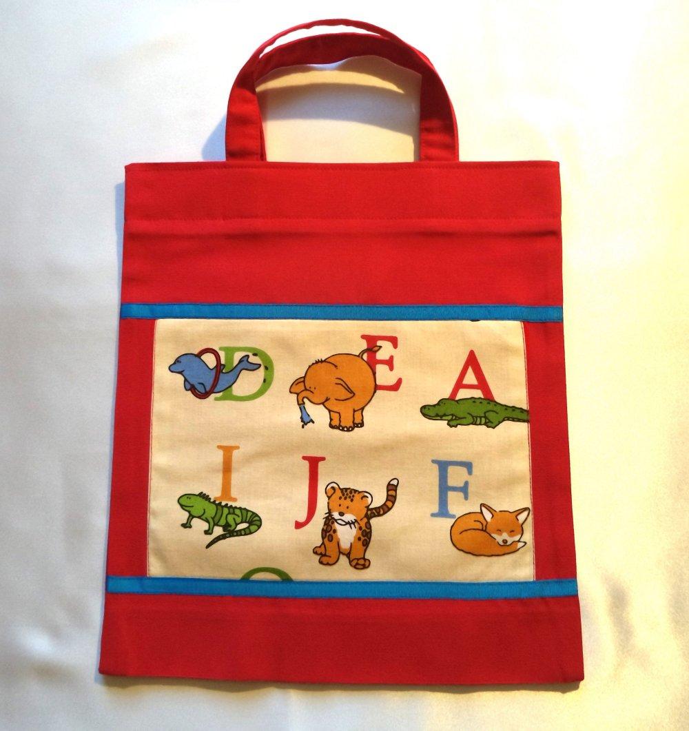 """Sac bibliothèque rouge pour enfant , sac à doudous, sac multifonctions pour enfants, thème"""" Les lettres de l'alphabet"""""""