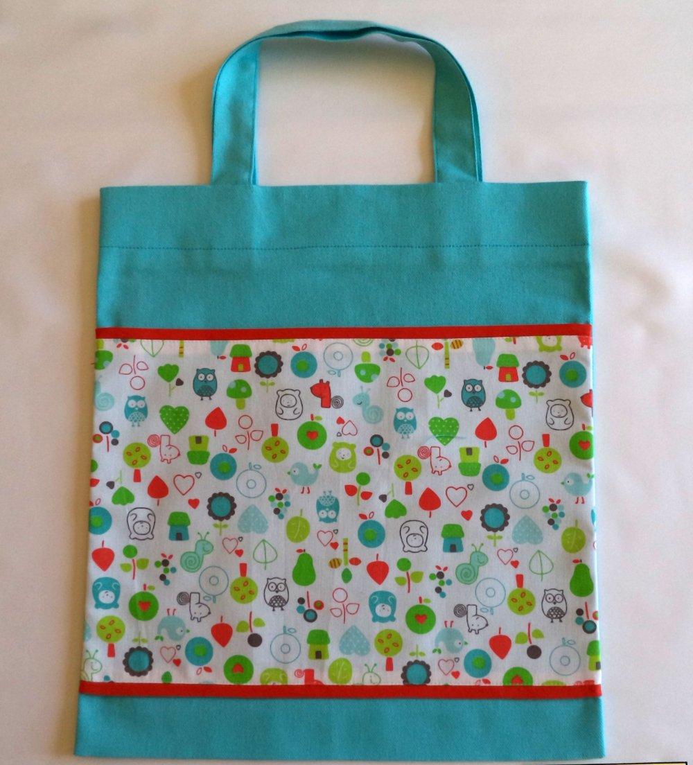 Sac de bibliothèque pour enfants, sac- multifonctions pour enfants, sac à doudous ,couleur turquoise, fait-mains.