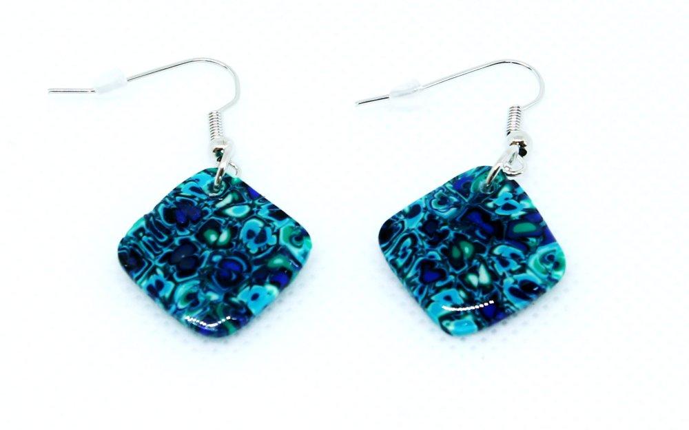 Paire de boucles d'oreilles carrées bleu, turquoise