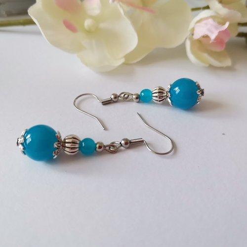 Boucles d'oreilles argent mat et perles en verre bleu