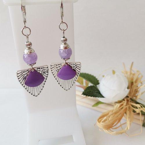 Boucles d'oreilles perles lilas et pendentif argent mat