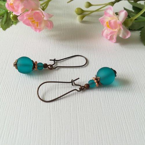 Boucles d'oreilles perles turquoise et apprêts cuivrés