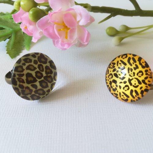Bagues cabochon verre imprimé 20 mm léopard x 2