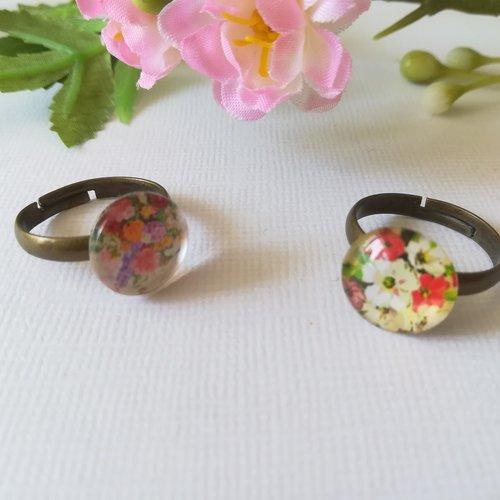Bagues cabochon verre 12 mm motif fleur x 2