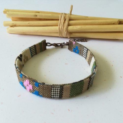 Bracelet coton tissage ethnique beige et apprêts cuivre rouge