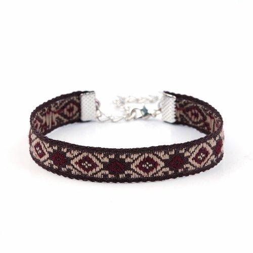 Bracelet coton style bohème marron et rouge
