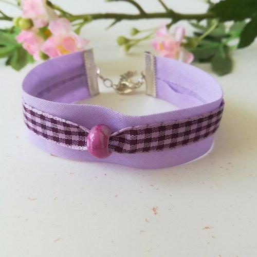 Bracelet tissus biais mauve et ruban à carreaux violet