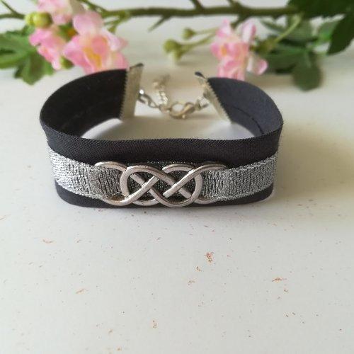 Bracelet tissus biais gris anthracite et ruban argenté