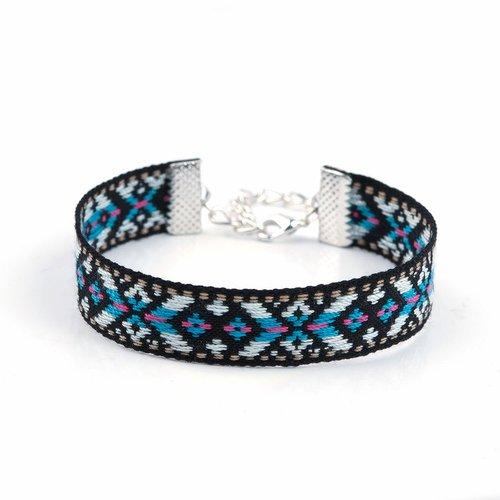 Bracelet coton style bohème bleu et noir