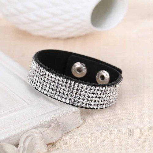 Bracelet suédine noir et strass brillant