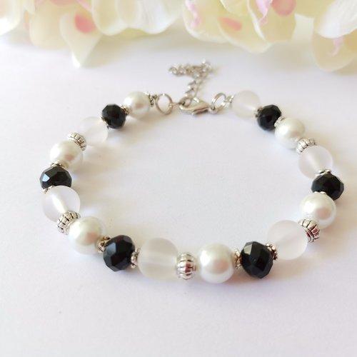Bracelet perles en verre nacré blanche et à facette noire
