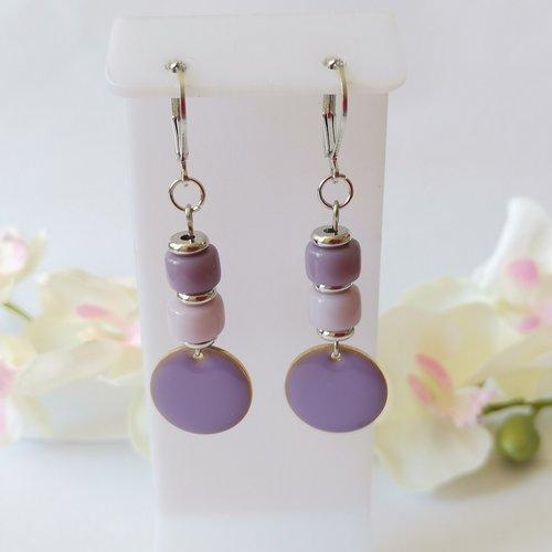 Boucles d'oreilles pendentif émail mauve et perles en verre colonne bicolore