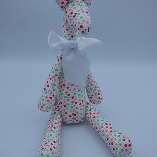 Girafe tilda en tissu multicolore fait main