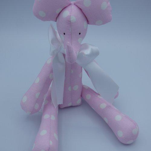 Elephant tilda en tissu dominant rose fait main