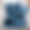chausson d'intérieur chiné bleu et gris 36/40 orné d'une fleur bleu fait main ma création en laine et acrylique