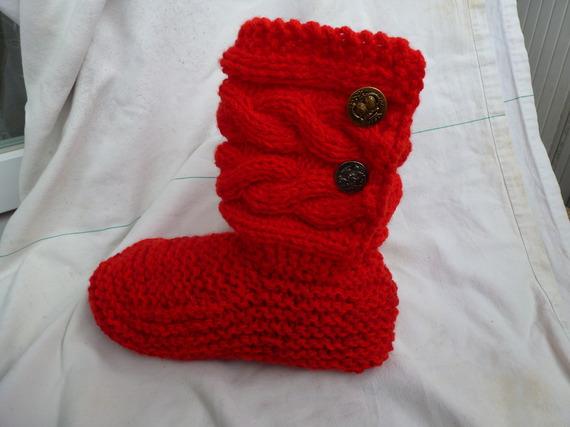 chausson adulte chausson d'intérieur montant avec une tige torsadée ,  original et  confortable, ma création fait main modèle unique