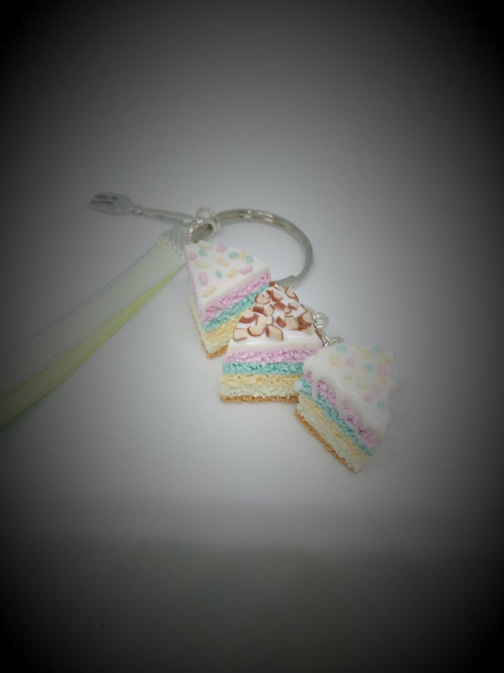 Porte clés parts de gâteau pastels en pâte polymère