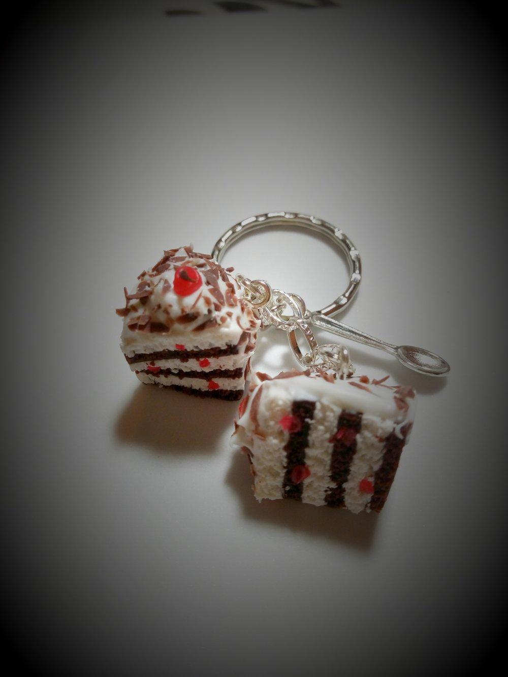 Porte clés parts de gâteau en pâte polymère