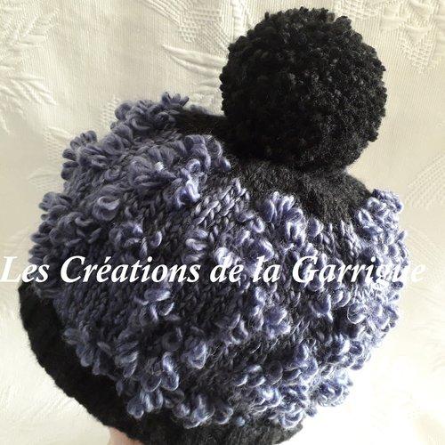 Flower bonnet à pompon bleu acier