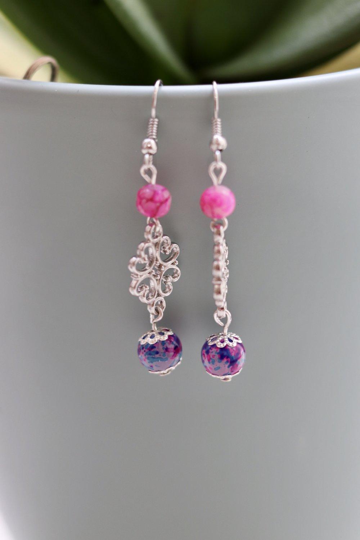 Perles roses/violets