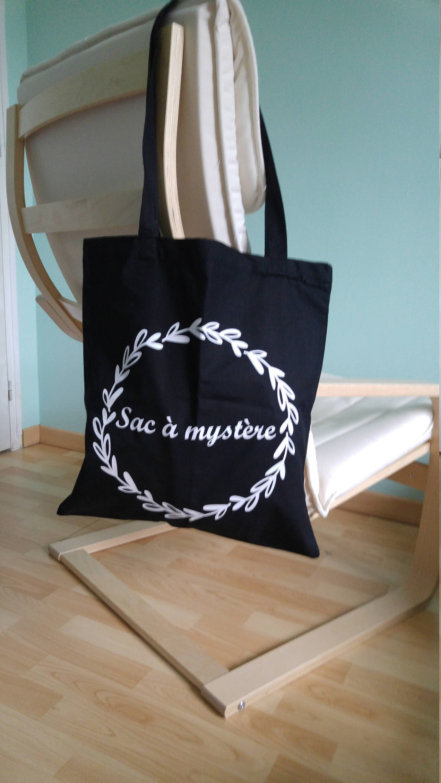 """Tote bag personnalisé original noir """"sac à mystère"""" en coton - cadeau elle enfant - pour balade courses plage"""