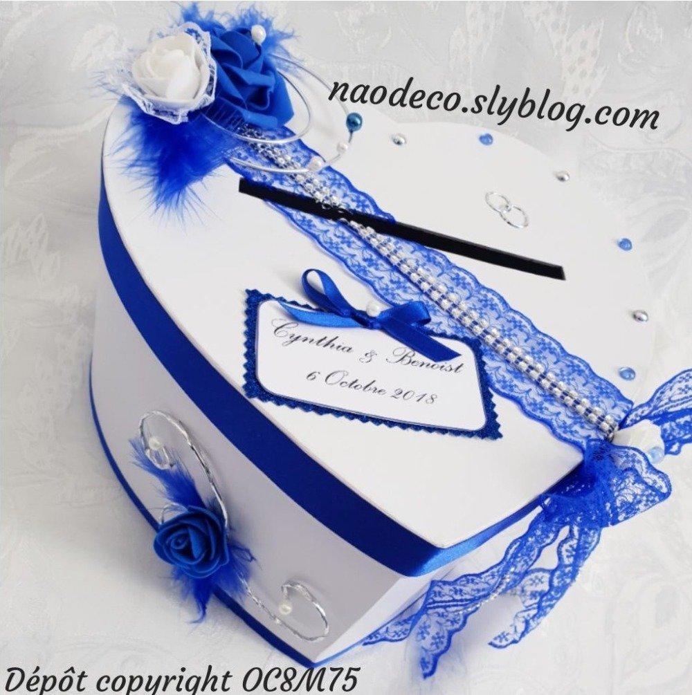 Urne de mariage blanc et bleu roi