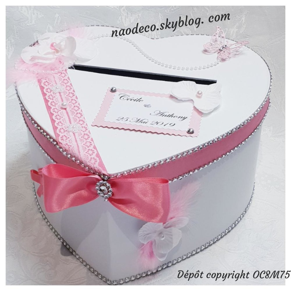 Urne mariage coeur blanc rose