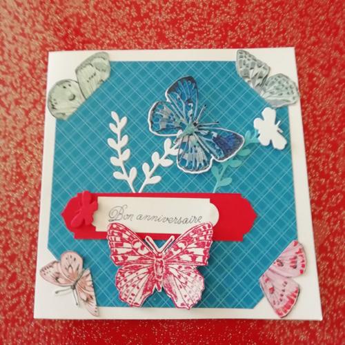Carte d'anniversaire fait main bouquet de papillons
