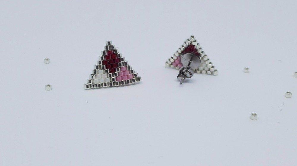 Boucles d'oreilles géométriques roses // puces d'oreilles géométriques roses // tissage de perles // fait main // perles miyuki // cadeau femme // cadeau fille