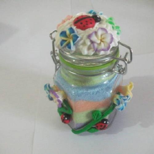 Petit bocal en verre décoré fleurs et coccinelle