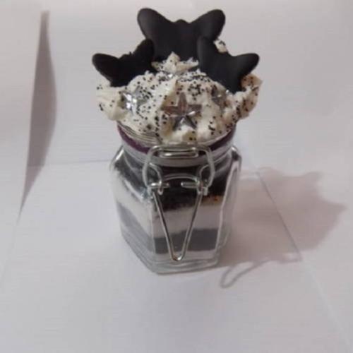 Petit bocal en verre décoré papillon étoile