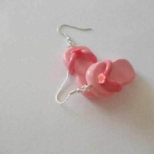 Boucles d'oreilles des tongs rose