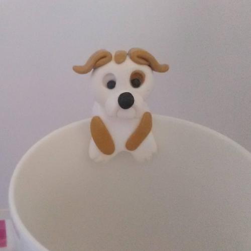 Accroche sachet de thé en pâte polymère un chien