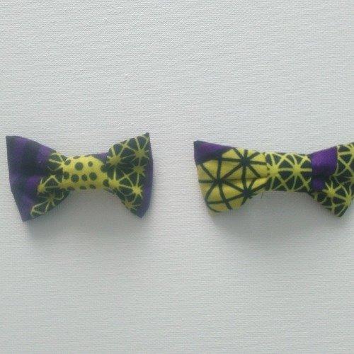 Barrette noeud wax violet et jaune