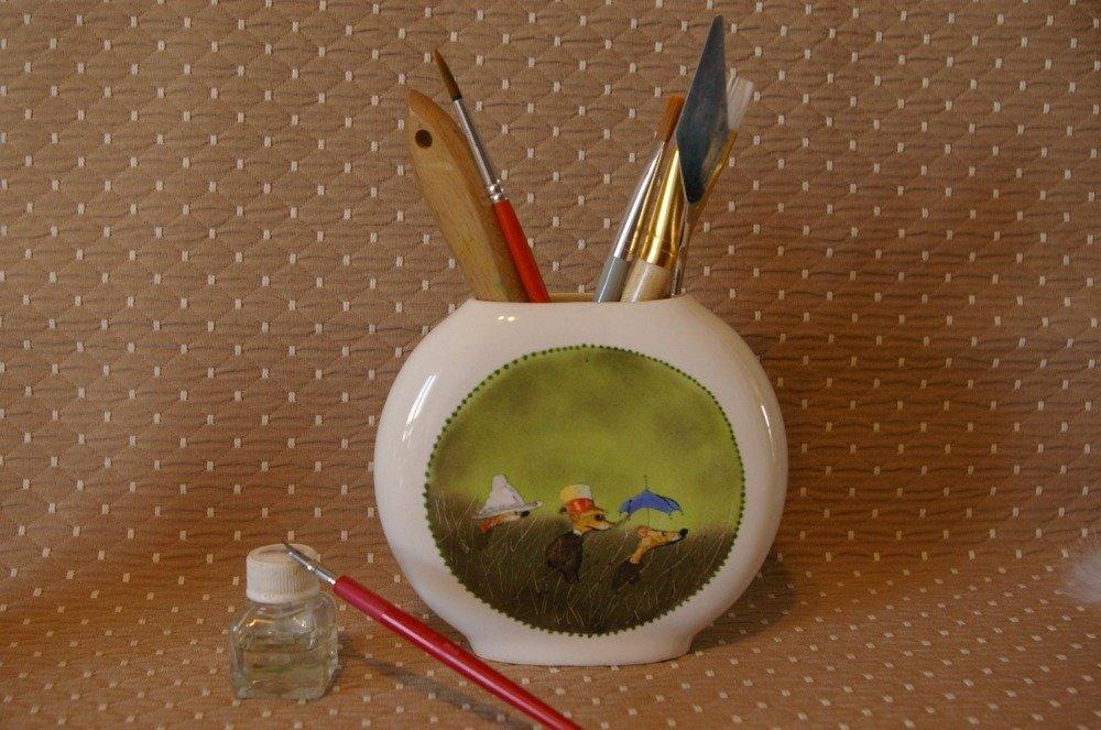 Pot à crayons en porcelaine - Souris en ballade .....