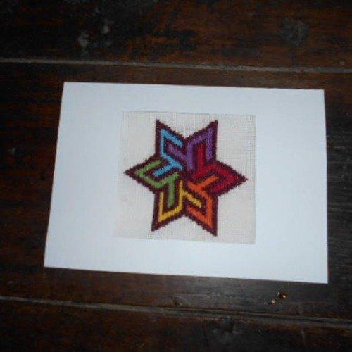 Carte Brodée étoile Multicolore