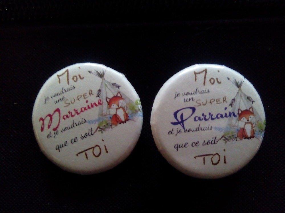 duo badge MARRAINE /PARRAIN Veux-tu être ma marraine /Veux tu être mon parrain
