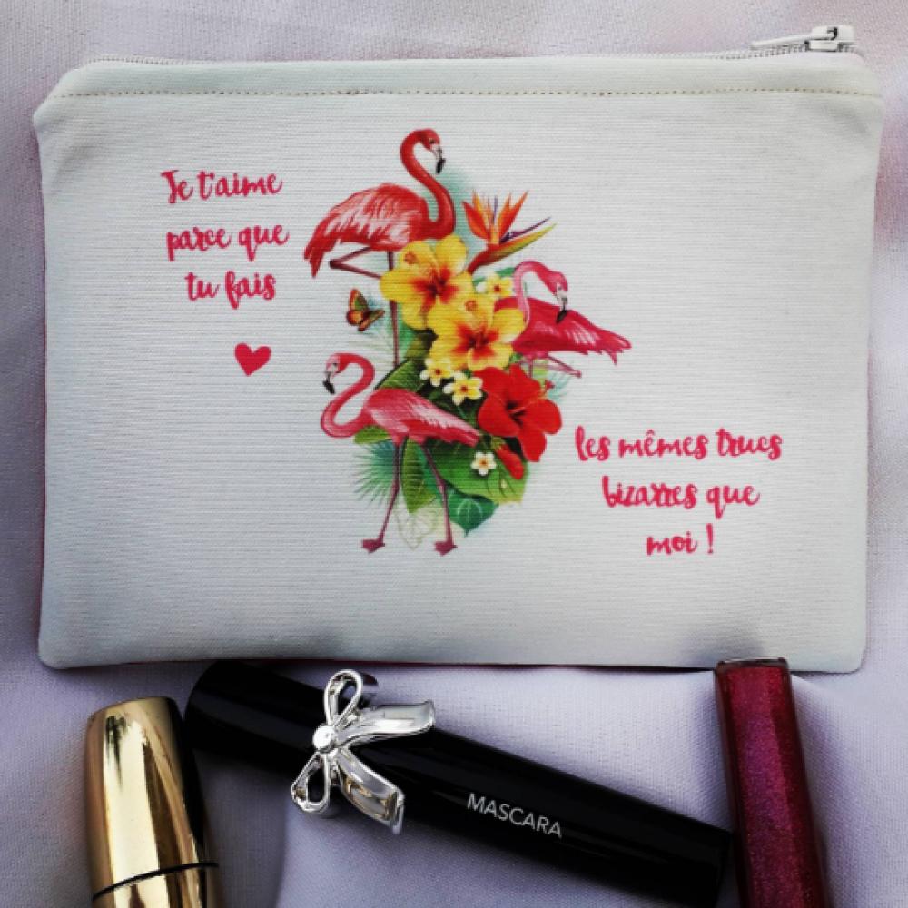 Trousse à crayons- trousse ados adultes enfants- Pochette en  imprimé flamants roses  sur fond blanc et coton rose fushia