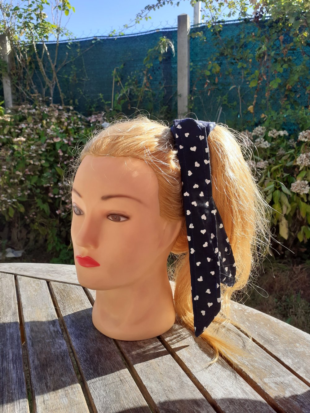 Bandeau à nouer dans les cheveux bleu marine à pois blanc , Bandeau cheveux rétro, femmes bandeau, bandeaux pour les femmes