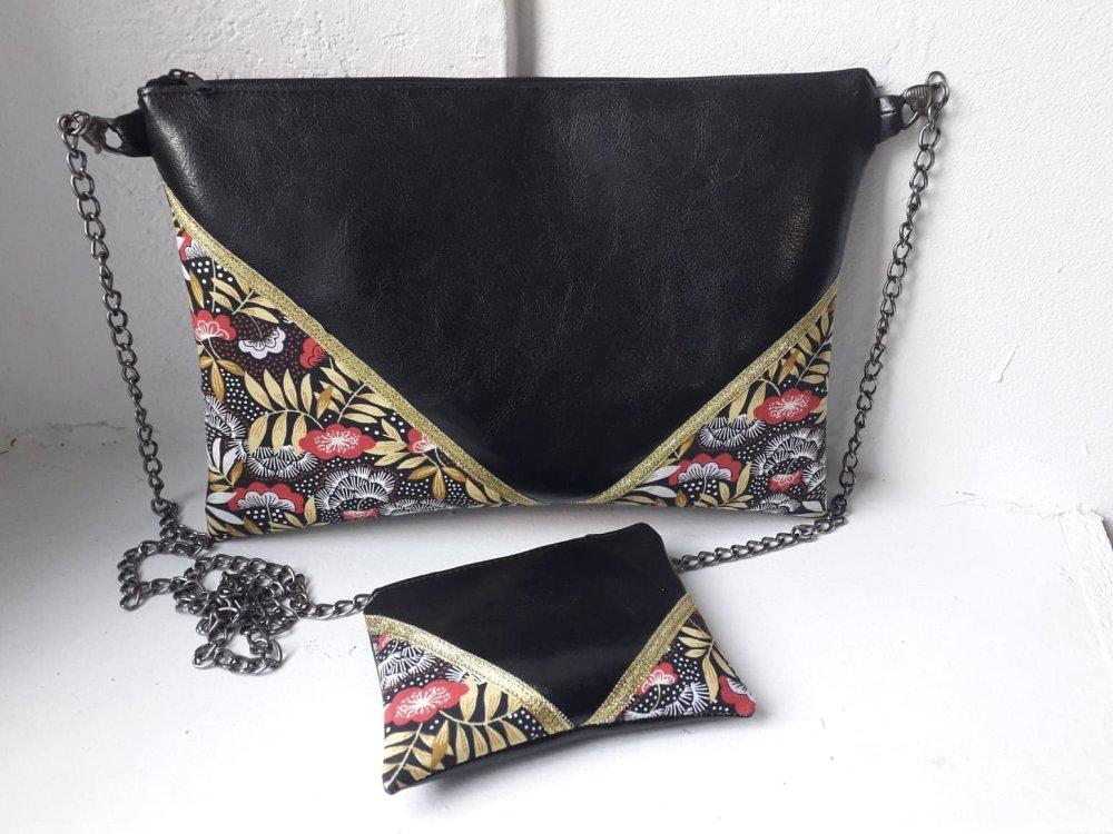 Pochette noir et rouge élégante, et son porte-monnaie,idéal aussi bien pour les soirées que la journée