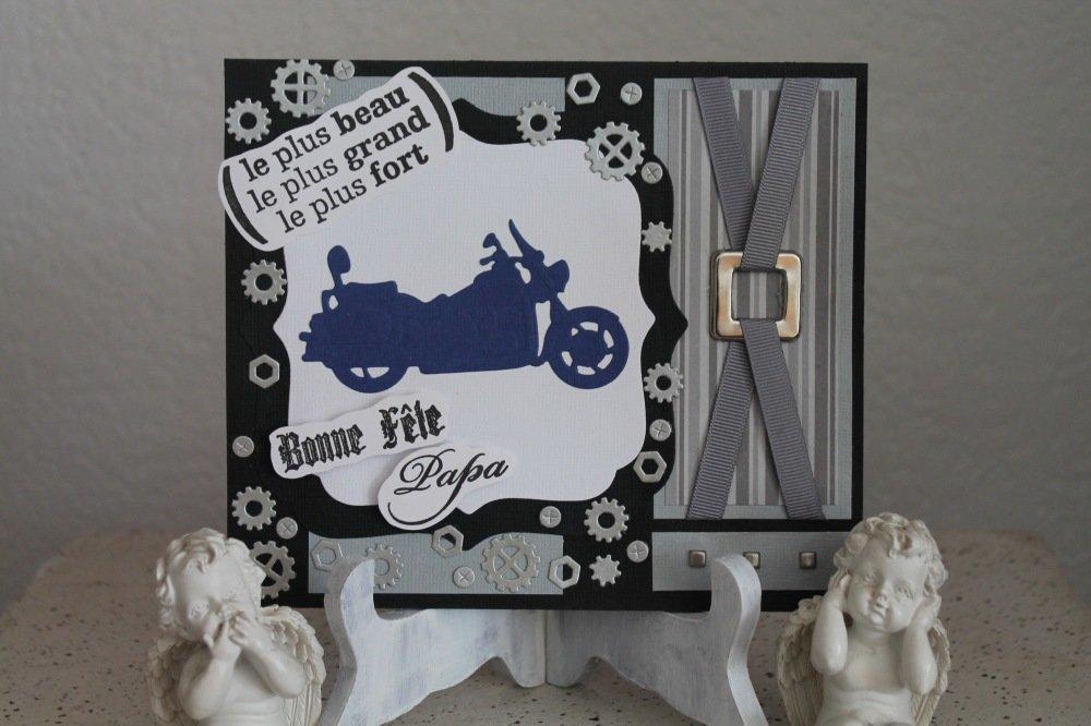 Carte Double Pour Homme Fetes Des Peres Ou Anniversaire Moderne Avec Moto Rouages Un Grand Marche