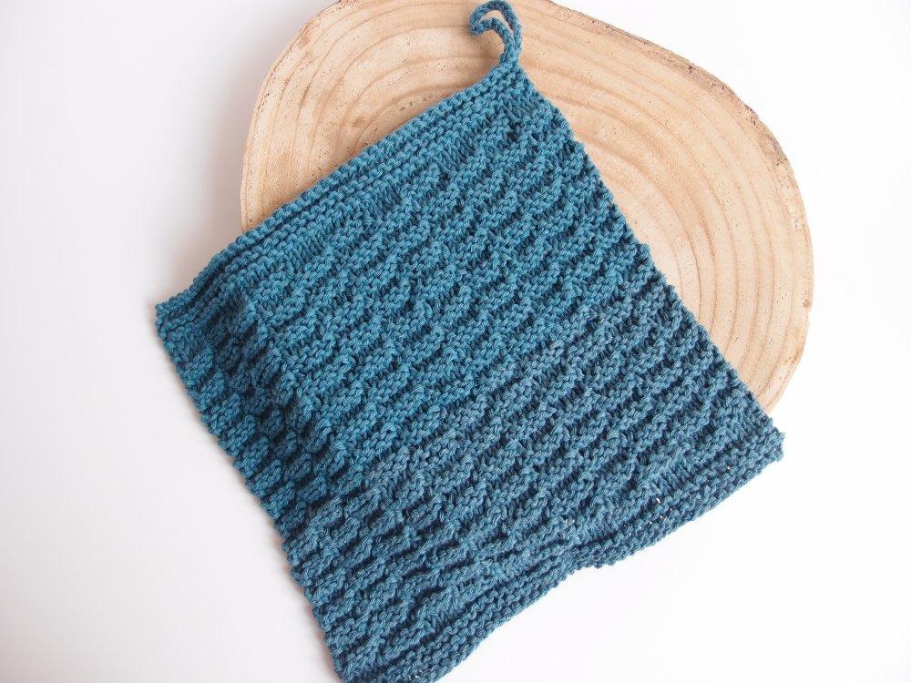 Lavette bleue pétrole / carré nettoyant coton oeko-tex pour le ménage ou pour la déco
