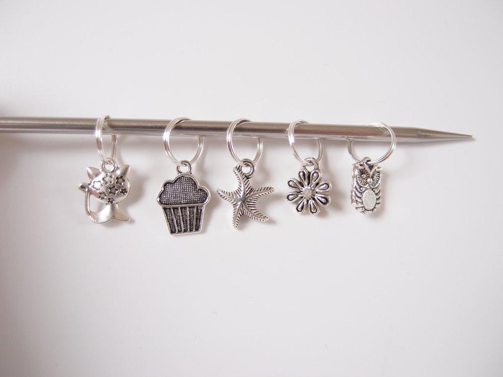 Anneaux marqueurs pour tricot - Lot de 5 - Chat - hiboux - fleur - étoile de mer - gâteau - anneau marqueur maille