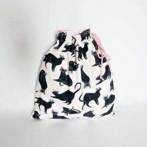 Sac pochon en tissu - sac vrac - multi usages - motifs chats.