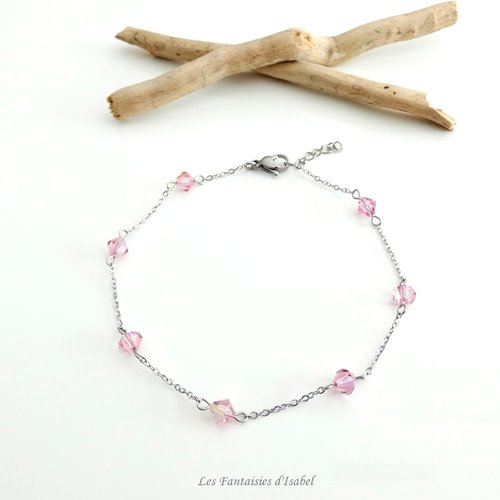 Bracelet de cheville perles swarovski toupies roses