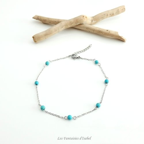 Bijou de cheville acier inoxydable perles imitation turquoise